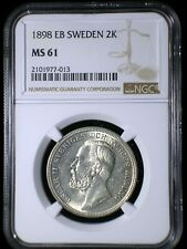 Sweden 1898 2 Kronor *NGC MS-61* Heavily Circulated Low Mintage Scarce Type