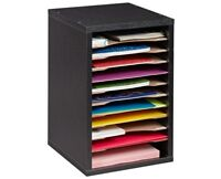 AdirOffice Black Wood 11 Compartment Vertical Paper Desktop Sorter Organizer