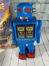 "Japan Tin Toy Blue12"" Space Evil Robot w Machine Gun - Battery Operated Repro!"