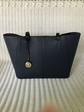 Tommy Bahama Large Tote Beach Bag Navy Blue Leather  Black Handles Cute!