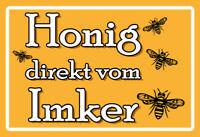 Bee Happy eat Honey Honig Blechschild Stabil Flach Neu aus GB 40x30cm S5813