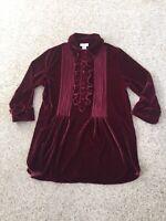 Soft Surroundings Burgundy Velour Velvet Pleated Ruffle Blouse Tunic Top Size L