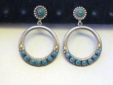 Vintage Turquoise set STERLING Silver Hoop Earrings Navajo Native American