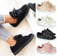WOMENS LADIES FLAT RUNNING SPORT LACE UP WALKING PUMPS SKATER TRAINERS SHOES SZ