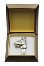 Doberman pincher - silver plated clipring with dog, in box, Art Dog USA