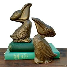 Vtg Solid Brass Pelican Figurine Pair Seaside Bird Paperweight Nautical Home Art