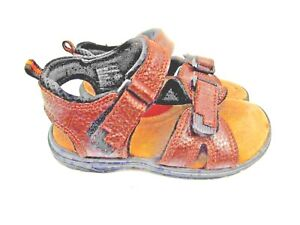 LITTLE Boys SANDALS CHEROKEE BRAND SIZE 11 BROWN Leather Upper
