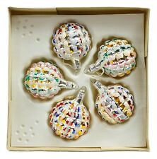 Color Frosty Ball Vintage Handblown Eastern Europe Glass Christmas Ornament Set