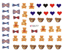 Nail Art 3D Decals Transfers Stickers Cute Bears Hearts Bows (E577)