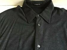 COSTUME NATIONAL HOMME BLACK SILVER METALLIC BUTTON FRONT SHIRT EU 54