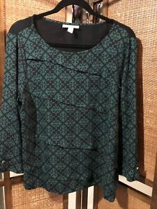Dana Buchman Ladies Green/ Black Front Layered Blouse Sz L
