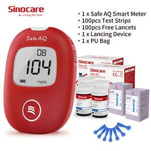 Safe-AQ Smart Monitor de glucosa en sangre azúcar con 100 tiras reactivas