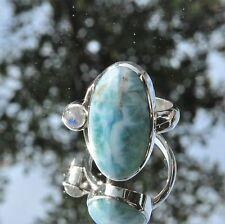 Larimar Ring, 925er Silber, Edelsteinring (21301), mit Mondstein