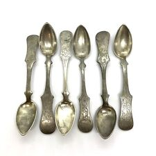 "Antique 1860s Poland Ukrinea Set Of 6. 800.Silver Spoons. 6.5"". 194.8gm."