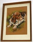 Vtg Original BASSET HOUND Dog Pastel Drawing Portrait Painting Br Cosmas Wambach