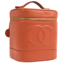CHANEL CC Cosmetic Vanity Hand Bag Salmon Pink Caviar Skin 8101988 AK38515d