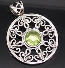 """Celtic Sun Light Green Silver Tone Pewter Pendant with 20"""" Necklace PP#267"""