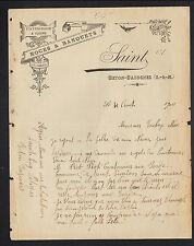 """BETON-BAZOCHES (77) PATISSERIE & CUISINE / NOCES & BANQUETS """"SAINT"""" en 1900"""
