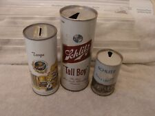 "(3) Schlitz P/T Beer Cans ""Tall Boy"" 24 Oz. Tampa Bank 16Oz. Malt Liquor 8 Oz."