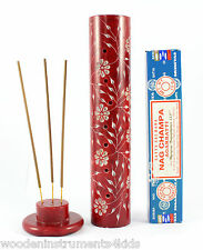 Incense holder red stone tower + nag champa incense sticks gift set