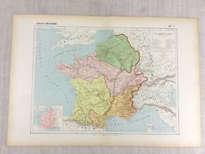 1888 Antique French Map of Ancient Gaul France Historical Empire Civilizations