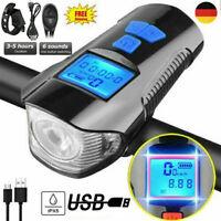LED Fahrradlampe Odometer USB Akku Radlicht Fahrradlicht Vorne Lampe Mit Horn DE