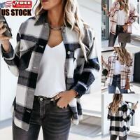 Women's Check Fleece Jacket Tunic Casual Winter Shirt Ladies Long Sleeve Top