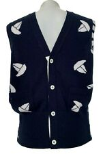 THOM BROWNE MEN'S NAVY CASHMERE SWEATER VEST WITH SHIP PRINT, 4, $2500