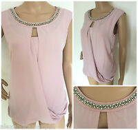 NEW M&S COLLECTION PINK SILVER BEAD & DIAMANTE TRIM DRAPE BLOUSE TOP 10 - 18