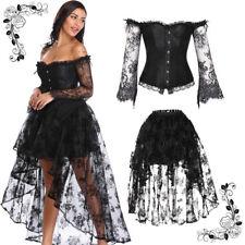 5766db26b1 Women Steampunk Victorian Off Shoulder Corset Top with High Low Skirt Dance  Ball