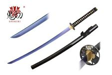 Onikiri Full Tang Sapphire Blade Japanese Katana Sword with Warrior Tsuba NEW