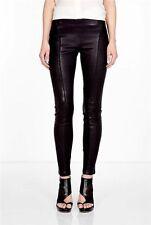SZ 4 Theory MIANA Danish Black Stretch Leather Seamed Leggings Skinny Pants $985