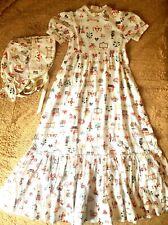 Vtg Custom Made Girls Prarie Dress Bonnet Historical Williamsburg Colonial M L