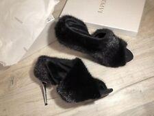 La Perla Black Real Mink Fur Sandals High Heels Shoes Size IT 40 UK 7 NEW W/BOX