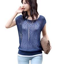 Women Summer Loose Hollow out Short Batwing Sleeve Knit Tops Tee Shirt Sweater3c Navy Blue Size