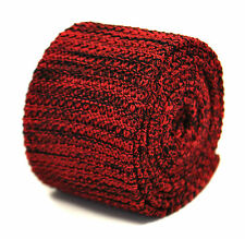 Frederick Thomas Knitted Silk Mens Tie - Red and Black - Speckled Skinny Necktie
