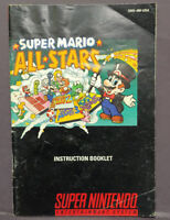 Super Mario All Star - Super  Nintendo SNES Instruction MANUAL ONLY - No Game !!