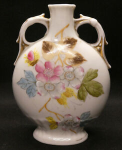 Two Handled Urn Vase with Flowers and Gold Trim