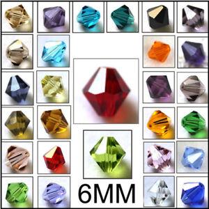 DIY Fashion Jewelry 100pcs Austria Crystal 6mm bicone beads #5301 U pick colors