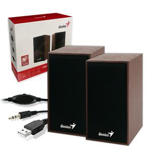USB WOODEN PC SPEAKERS | 4 Watt Set for Desktop Computer Laptop Genius SP-HF160