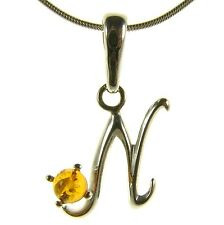 BALTIC AMBER STERLING SILVER 925 ALPHABET LETTER N PENDANT JEWELLERY JEWELRY