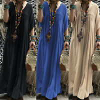 ZANZEA Women Low Cut Long Maxi Dress Hollow Out Crochet Full Length Shirt Dress