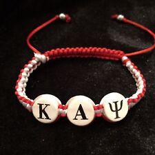Divine Nine Inspired Kappa Shamballa Styled Classic Bracelet-Crimson And Cream