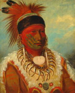 George Catlin Head Chief of the Iowas Poster Reproduction Giclee Canvas Print