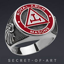 Masonic Royal Arch Ring - Silver 925, With 24k-Gold-Plated Parts, very fine work