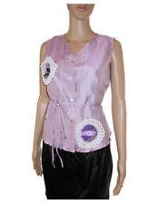 LA ROCHELLE Womens Vtg Silk Purple Tailored Hand Custom Formal Blouse sz S AB87