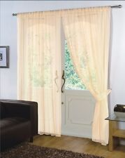 PAIR - VOILE NET PANELS SLOT TOP 59'' X 54'' CURTAINS - CREAM