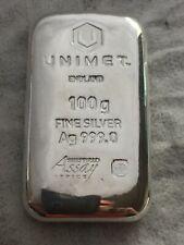 4x Unimet 100g Fine Silver Ag 999.0 Cast Bar £98 each