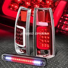 CHROME HOUSING RED 3D LED TAIL+BLACK 3RD BRAKE LIGHT FOR 88-00 CHEVY/GMC C/K