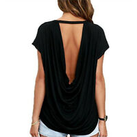 Women Summer Open Back Short Sleeve T Shirt Casual Backless Tops Tees Twisted  V